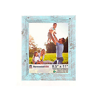 """Rustic Farmhouse 8.5 x 11"""" Picture Frame - 100% Reclaimed Wood, Robins Egg Blue, , large"""