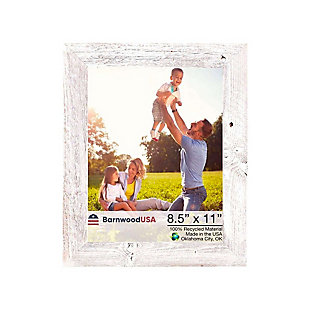 "Rustic Farmhouse 8.5 x 11"" Picture Frame - 100% Reclaimed Wood, White Wash, , large"