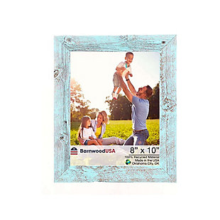 "Farmhouse 8 x 10"" Picture Frame - 100% Up-Cycled Reclaimed Wood, Robins Egg Blue, , large"