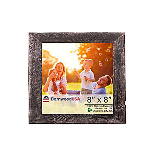 """Rustic 8 x 8"""" Picture Frame - 100% Reclaimed Wood, Smokey Black, , large"""