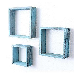 Wood Floating Shelves, Robins Egg Blue (Set of 3), Blue, large