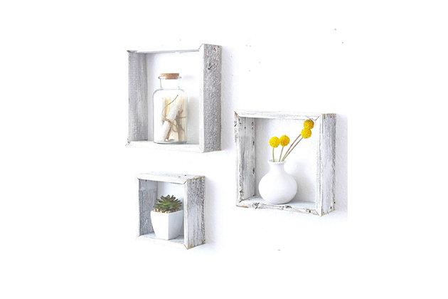 Wood Floating Shelves, White Wash (Set of 3), White, large