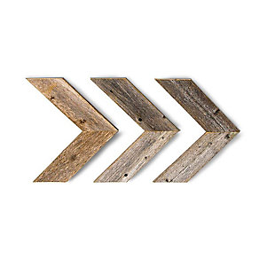 Reclaimed Wood Chevron Arrow Wall Décor, Weathered Gray, Gray, large