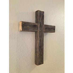 "Recycled Wood Decorative 12x15x2"" Cross, Weathered Gray, , rollover"