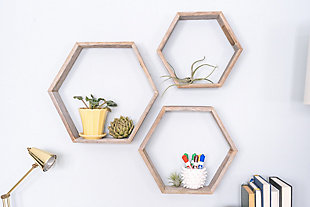 Wood Hexagon Floating Shelves, Weathered Gray (Set of 3), , rollover