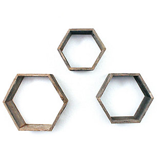 Wood Hexagon Floating Shelves, Weathered Gray (Set of 3), , large