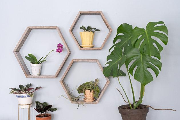 Wood Hexagon Floating Shelves, Weathered Gray (Set of 3), Gray, large
