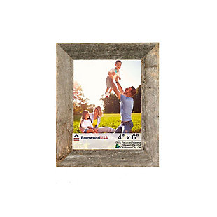 """Rustic Farmhouse 4 x 6"""" Picture Frame - 100% Recycled and Reclaimed Wood, Weathered Gray, , large"""