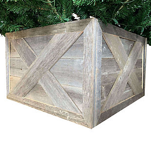 Farmhouse Tree Box - 100% Reclaimed & Recycled Wood, Natural Weathered Gray, , large