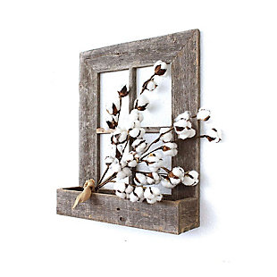 "Window 22x18x4"" Planter Frame - 100% Reclaimed Wood, Weathered Gray, , rollover"