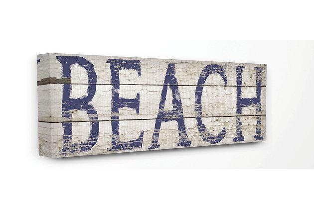 Distressed Plank Beach 20x48 Canvas Wall Art, Multi, large