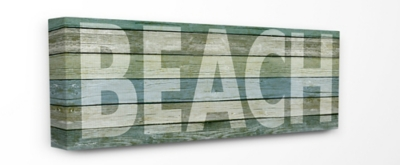 Faded Beach Colored Planked Look Oversized Stretched Canvas Wall Art, 13 x 30, Multi, large