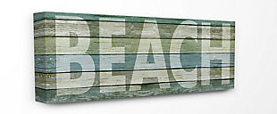 Faded Beach Colored Planked Look Oversized Stretched Canvas Wall Art, 13 x 30, Multi, rollover