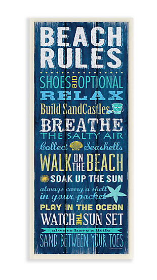 Beach Rules Relax Breathe 7x17 Wall Plaque, , large