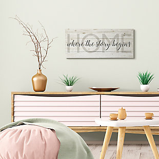 Story Begins Family Home Inspirational 13x30 Canvas Wall Art, Multi, rollover