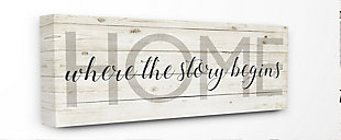 Story Begins Family Home Inspirational 13x30 Canvas Wall Art, Multi, large