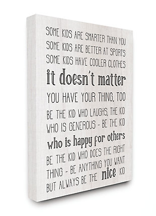 Be The Nice Kid Inspirational 36x48 Canvas Wall Art, Black/Gray, large