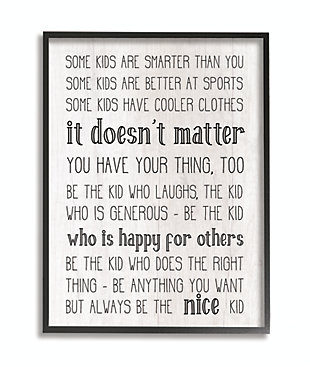 Be The Nice Kid Inspirational 11x14 Black Frame Wall Art, , large