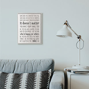 Be The Nice Kid Inspirational 16x20 Gray Frame Wall Art, Black/Gray, rollover
