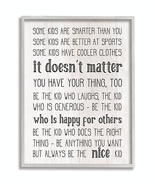 Be The Nice Kid Inspirational 16x20 Gray Frame Wall Art, Black/Gray, large
