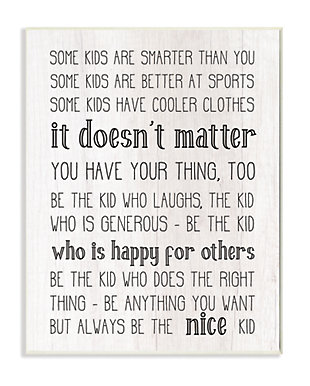 Be The Nice Kid Inspirational 13x19 Wall Plaque, Black/Gray, large