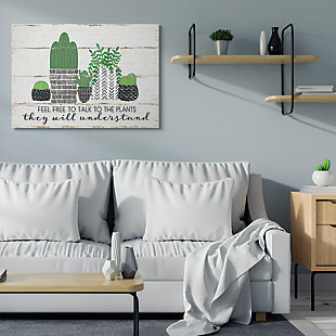 Feel Free To Talk Cacti Succulents 36x48 Canvas Wall Art, Green, rollover