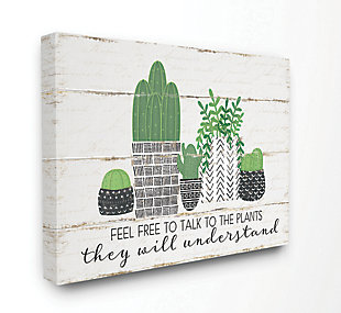 Feel Free To Talk Cacti Succulents 36x48 Canvas Wall Art, Green, large