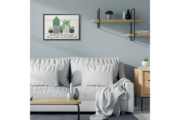Feel Free To Talk Cacti Succulents 24x30 Black Frame Wall Art, Green, large