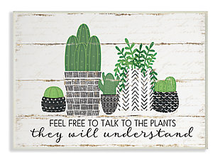 Feel Free To Talk Cacti Succulents 13x19 Wall Plaque, Green, large