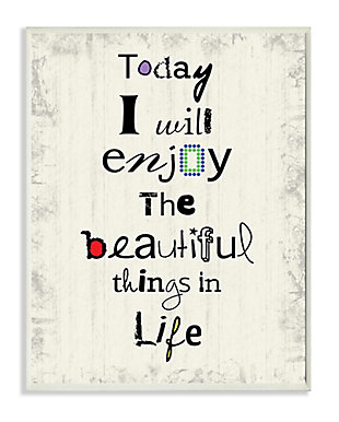 Today I Will Enjoy the Beautiful Things in Life 10x15 Wall Plaque, , large