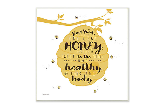 Kind Words are Like Honey Stretched 12x12 Canvas Wall Art, Multi, large