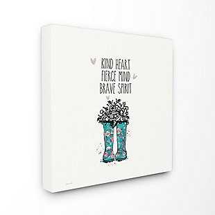 Kind Fierce Brave Rainboots With Flowers 24x24 Canvas Wall Art, Multi, rollover