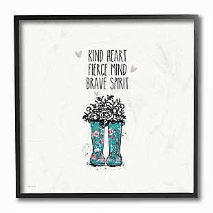 Kind Fierce Brave Rainboots with Flowers 12x12 Black Frame Wall Art, , rollover