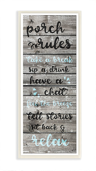 Porch Rules Rustic Blue Sit Back and Relax 7x17 Wall Plaque, , rollover