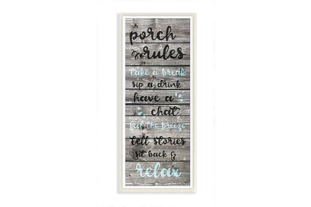 Porch Rules Rustic Blue Sit Back and Relax 7x17 Wall Plaque, , large