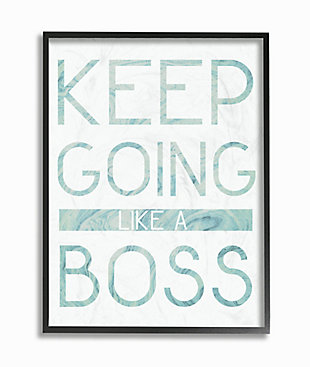 Keep Going Like A Boss Pastel Blue Marble Paper Typography 16x20 Black Frame Wall Art, Multi, large