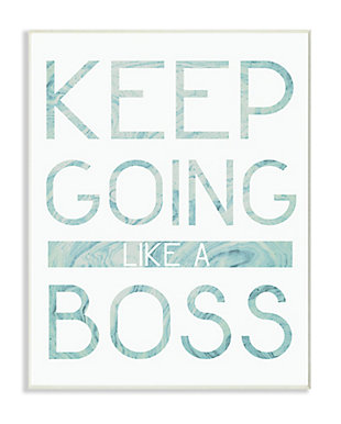 Keep Going Like A Boss Pastel Blue Marble Paper Typography 13x19 Wall Plaque, Multi, large