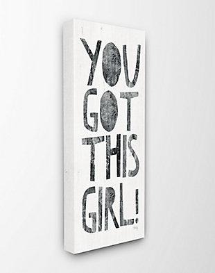 You Got This Girl Black And White Distressed Collage Look Typography 13x30 Canvas Wall Art, Multi, large