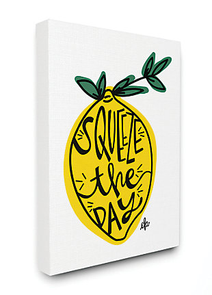 Squeeze The Day Lemon Graphic 36x48 Canvas Wall Art, , large