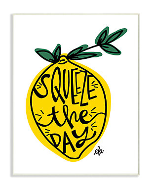 Squeeze The Day Lemon Graphic 13x19 Wall Plaque, Multi, large