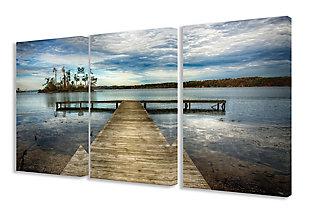 3 Piece Dock Overlooking Island Triptych 3pc Set 16x24 Canvas Wall Art, Multi, large