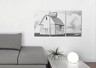 White Barn With American Flag 3pc Set 16x24 Canvas Wall Art, Multi, rollover