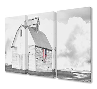 White Barn With American Flag 3pc Set 16x24 Canvas Wall Art, Multi, large