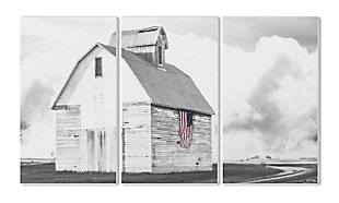 White Barn with American Flag 3pc Set 11x17 Canvas Wall Art, , rollover