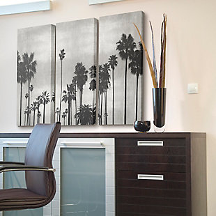 Black and White Photography Palm Tree Silhouette Scene 3pc Set 16x24 Canvas Wall Art, Multi, rollover
