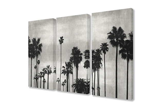 Black And White Photography Palm Tree Silhouette Scene 3pc Set 16x24 Canvas Wall Art, Multi, large