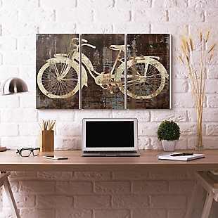 Black Tan and Blue Distressed Bicycle Silhouette Triptych 3pc Set 16x24 Canvas Wall Art, , rollover