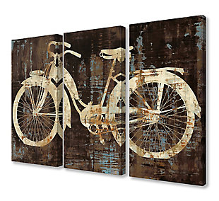 Black Tan and Blue Distressed Bicycle Silhouette Triptych 3pc Set 16x24 Canvas Wall Art, , large