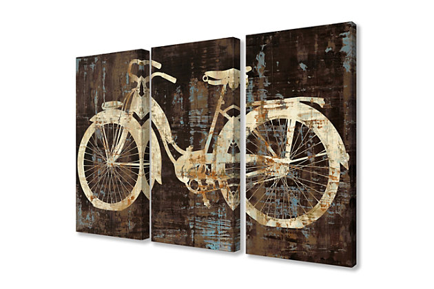 Black Tan and Blue Distressed Bicycle Silhouette Triptych 3pc Set 16x24 Canvas Wall Art, Multi, large