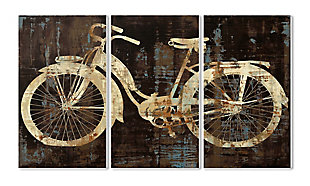 Black Tan And Blue Distressed Bicycle Silhouette Triptych 3pc Set 11x17 Canvas Wall Art, Multi, large